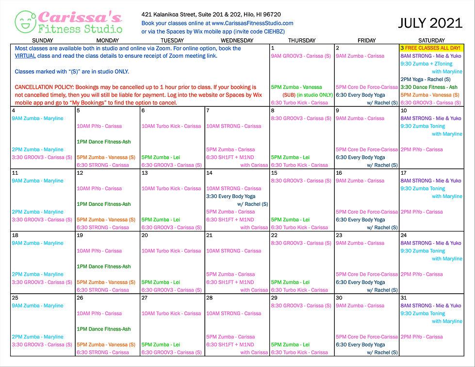 Carissa's Fitness Studio - July 2021 Calendar