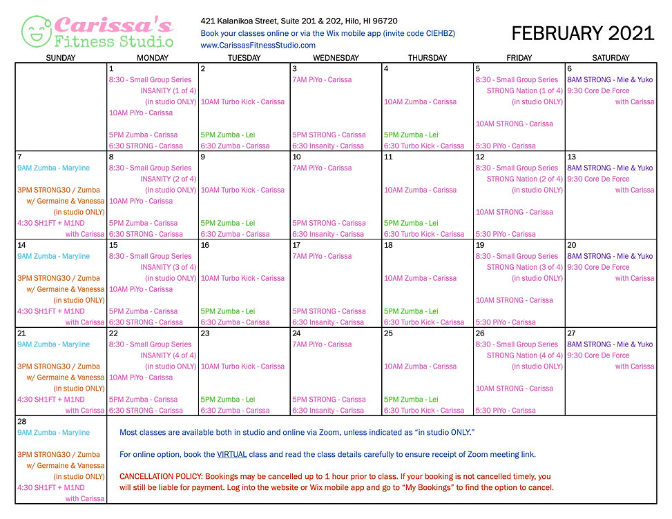 Carissa's Fitness Studio - February 2021 Calendar