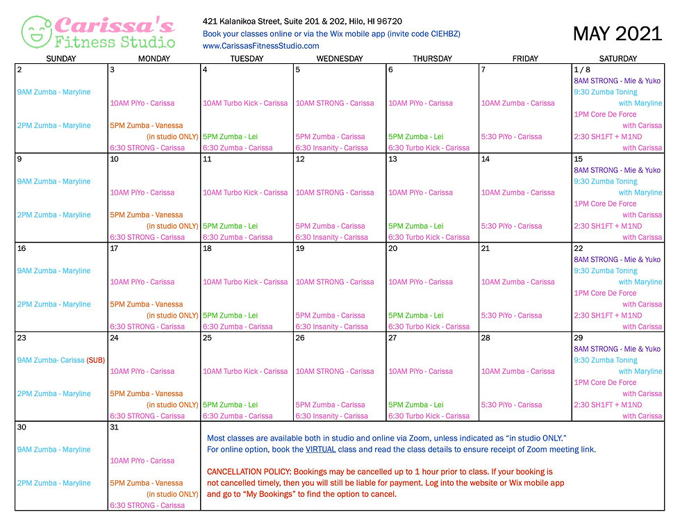 Carissa's Fitness Studio - May 2021 Calendar