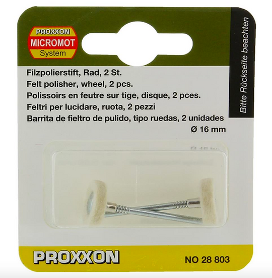 Proxxon Polissoirs en feutre sur tige, disque, 2 pces 16mm