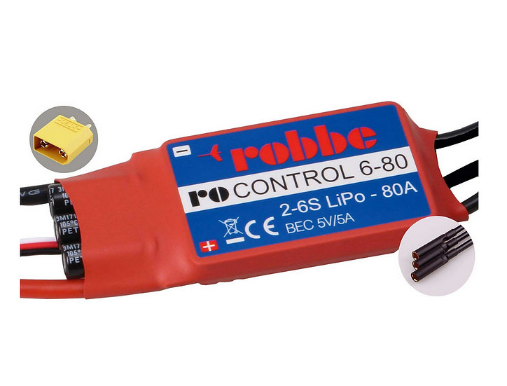 Robbe Controleur Brushless RO-Control 6-80A 2-6S BEC 5V/5A 8710