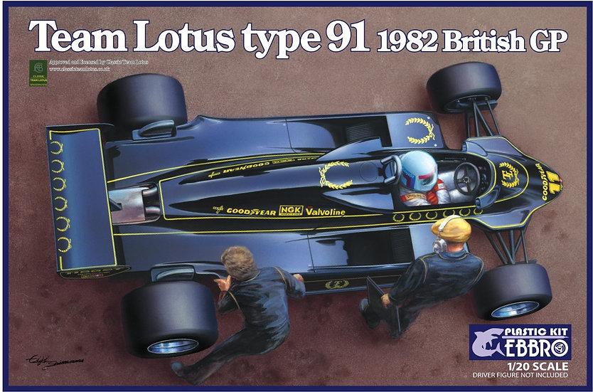 Ebbro Team Lotus Type 91 1982 Brirish GP 1/20