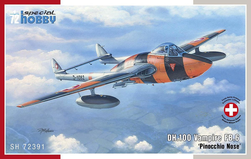 """Maquettes avion Special Hobby 72391 DH.100 Vampire 6 """"Pinocchio Nose"""""""