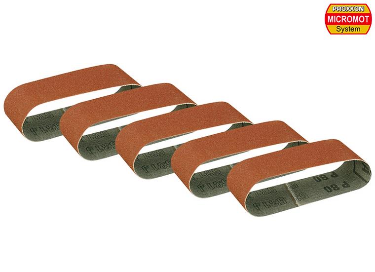 Proxxon Bondes de ponçage pour ponceuseà bande BBS/S, grain80, 5 pces 260x40mm