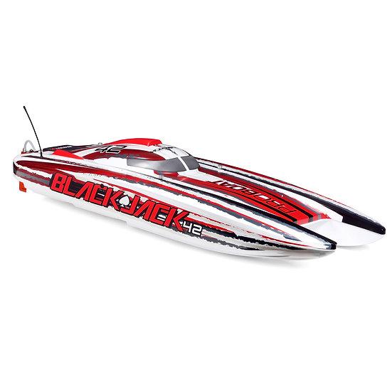 """Blackjack 42"""" 8S Brushless Catamaran RTR: White/Red PRB08043T2"""