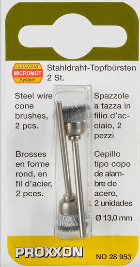 Proxxon Brossse en forme rond en fil d'acier 13mm 2pces