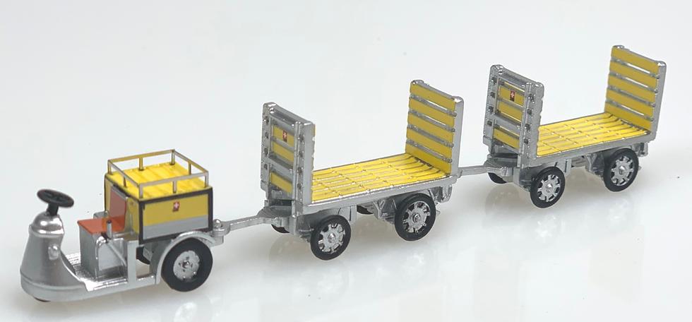 ACE collectors edition PTT Nefag Schlepper 3-Rad mit 2 Trolleys en Résine 1:87