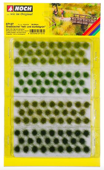 Noch Touffes d'herbres vert clair et foncé 6 mm 104 pièces