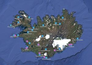 Campingplätze und Hotels in Island