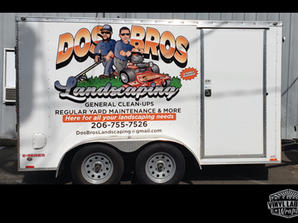 Enclosed trailer wrap and die-cut letter