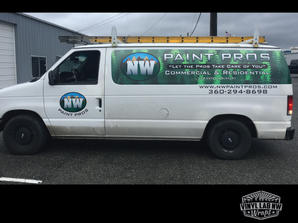 Nw Paint pros Ford econoline E350 van wrap and vinyl graphics by Vinyl Lab NW Wraps of Muk