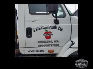 Chrome, 3m vinyl lettering for Peterson Fruit Co of Mukilteo by Vinyl Lab NW, serving the