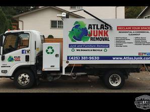 Atlas Junk Removal box truck vinyl graph