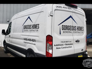 Ford Transit vinyl graphics for Gorgeous Homes of Bellevue, serving greater seattle area