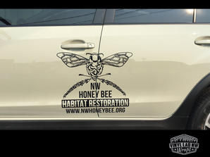 Die-cut logo for non-profit NW honey bee habitat restoration by vinyl lab nw signs and gra