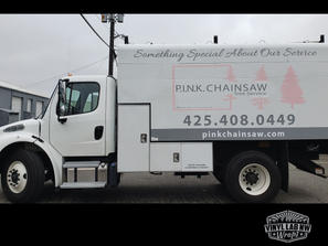 Truck decals for Pink Chainsaw of Snohom