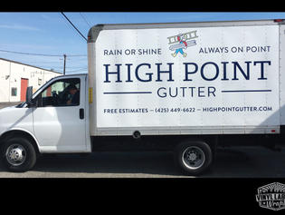 High point gutters of Woodinville box truck wrap increases company revenue, designed, printed, and installed by Vinyl Lab NW Signs and Graphics of Mukitleo. Addtional location in Gig Harbor.