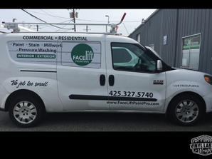 Ram promaster city vinyl graphics and partial wrap by Vinyl Lab Wraps of Mukilteo and Gig