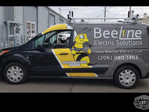 Beeline Electrical Solutions Ford Transit Connect van graphics by vinyl lab wraps