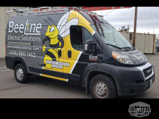 Beeline electric solutions company van wrap for dodge ram promaster