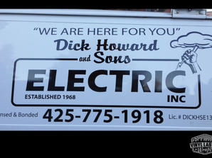 Vinyl van graphics, logo, and lettering for Dick Howard and Sons Electric of Lynnwood by V