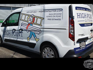 Company van wrap for High Point Gutters of Woodinville Ford Transit