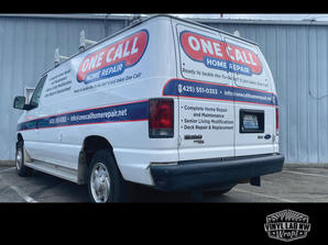 Ford econoline van graphics e350 logo and lettering for One Call Home Repair by vinyl lab