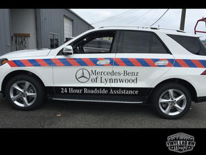 reflective vinyl graphics for Mercedes-Benz of Lynnwood roadside vehicle by vinyl lab wrap