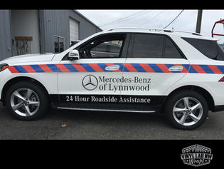 Mercedes Benz Roadside Vehicle with refelctive graphics, logos, and vinyl lettering by Vinyl lab wraps