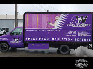 Beautiful box truck wrap for Nw Foam guy