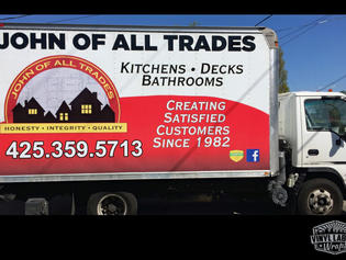 John of all trades of Edmonds Washington box truck vinyl wrap. Advertising for your company by Vinyl Lab NW Signs and Graphics of Mukilteo