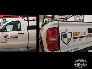Vinyl 3M graphics and lettering for James King Roofing of Mukilteo by Vinyl Lab Wraps of M