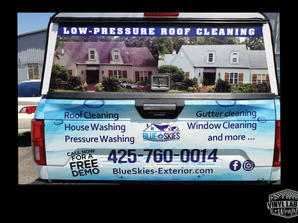 Blue Skies exterior cleaning Ford F150 vinyl wrap by Vinyl Lab NW
