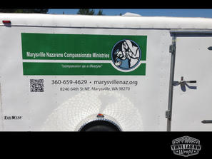 Marysville Nazarene trailer graphics, vinyl decal, and lettering by Vinyl Lab Wraps of Muk