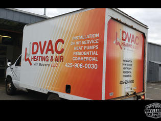 Dvac Heating & Air of Bothell Washington box truck wrap. Vinyl Graphics and commercial vehicle wraps designed and created by Vinyl Lab NW Signs and Graphics of Mukitleo. Addtional location in Gig Harbor.