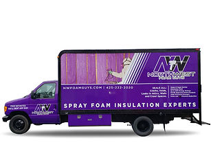NW Foam Guys box truck vinyl wrap, busin