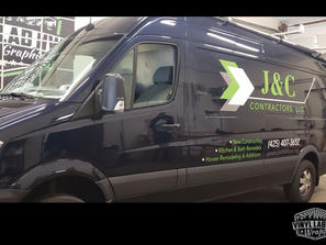 Mercedes sprinter van vinyl graphics for J&C contracting by vinyl lab nw signs and graphic