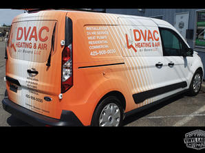 DVAC Heating and Air Ford Transit Connect van graphics vinyl wrap by Vinyl Lab NW of Mukil