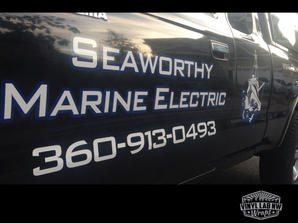 Seaworth Electricy vinyl logo and letter