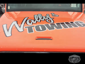 Wally's towing tow truck vinyl graphics