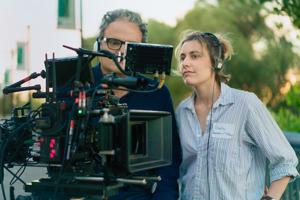 Greta Gerwig on the set of Lady Bird (photo by A24)