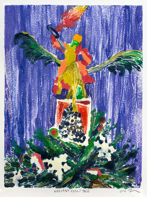 "9""x12"" Monotype - ""Valiant Xmas Tree"""