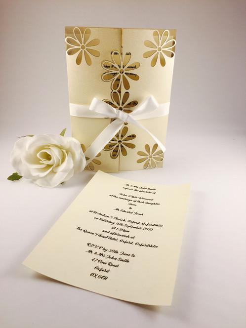 wedding invitation floral bi fold ivory pearl laser cut
