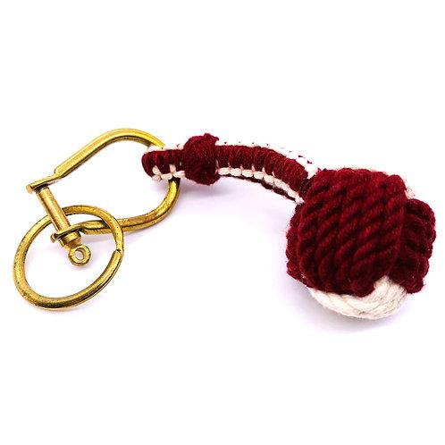 """Monkey Knot Key Ring """"Burgundy × White"""""""