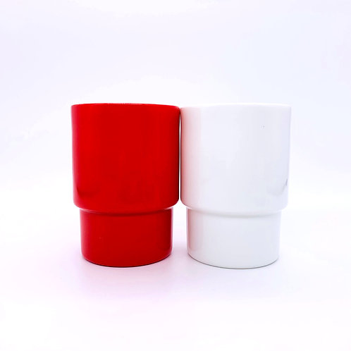 CERAMIC CUP RED&WHITE