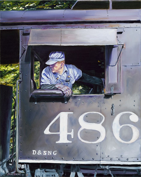 Painting of an engineer leaning out of a locomotive window.