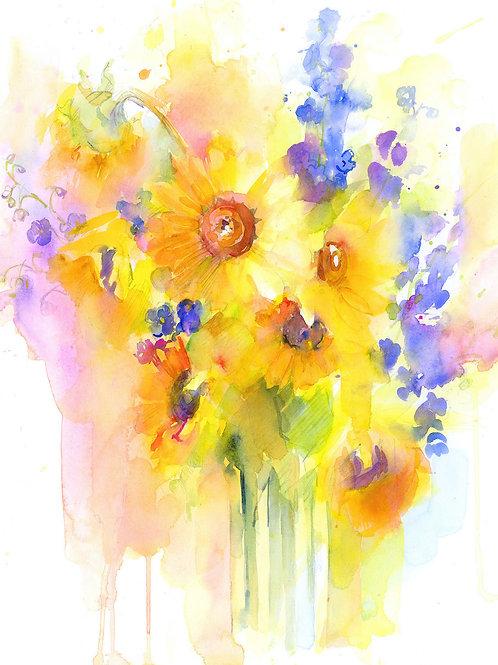 Sunflowers & Delphinium