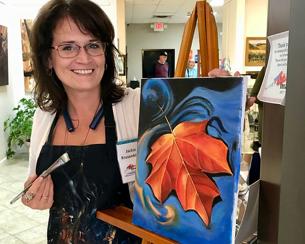 Jackie with Leaf Painting.jpeg
