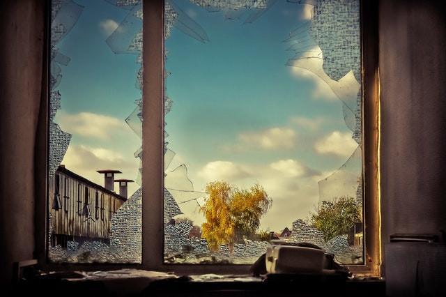 Source: pixabay.com Broken glass from inside building