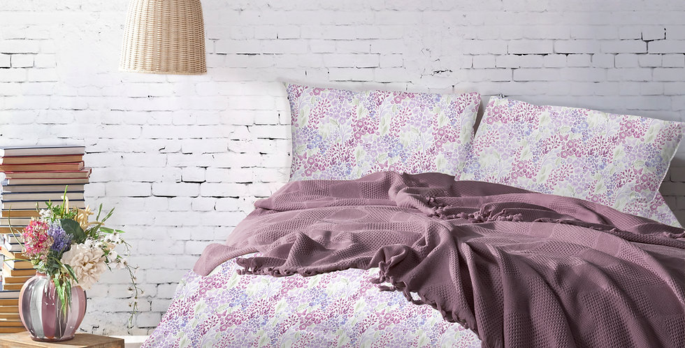 MONA Plum - Pique Cotton Quilt Set with Fringe